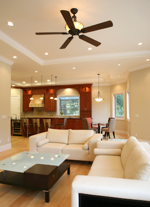 Track lighting, recessed lighting, ceiling fan installation